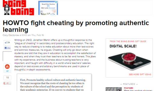 HOWTO fight cheating by promoting authentic learning - Boing Boing-102917