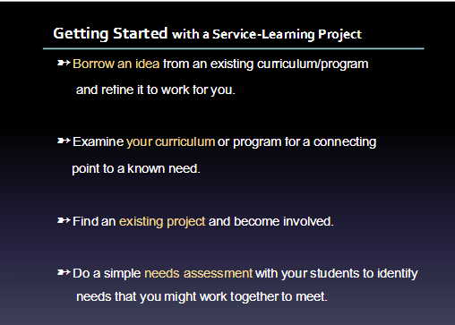 getting started with service learning